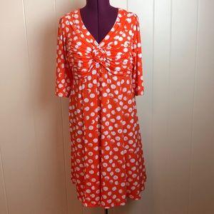 3/$27 Robbie Bee Orange/White Fit & Flare Dress